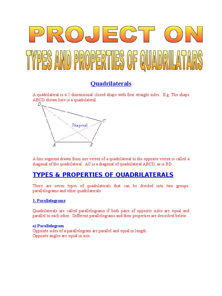 Types properties of quadrilaterals rectangle euclidean geometry ccuart Image collections
