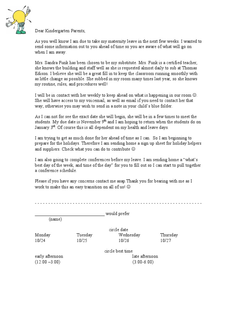 teacher returning from maternity leave letter to parents maternity leave plan template. Black Bedroom Furniture Sets. Home Design Ideas