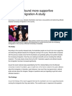 Australians Found More Supportive Towards Immigration