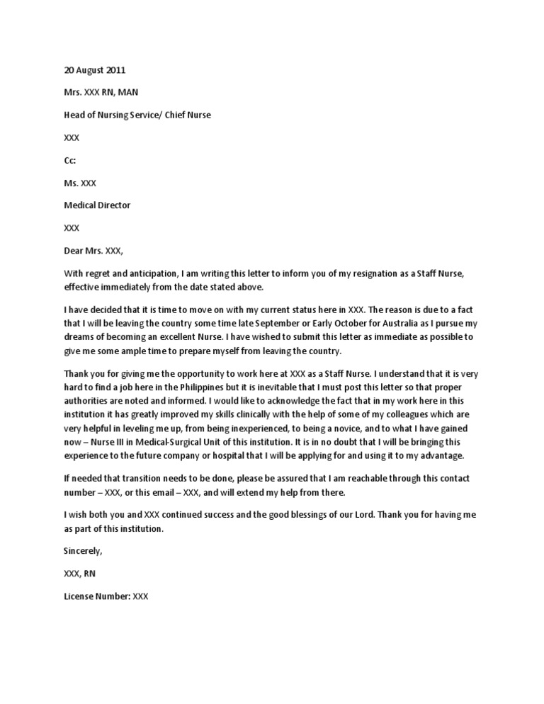 Nurse Resignation Letter Nursing Health Sciences