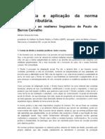 Incidência e aplicação da norma jurídica tributária - Uma crítica ao realismo lingüístico de Paulo de Barros Carvalho