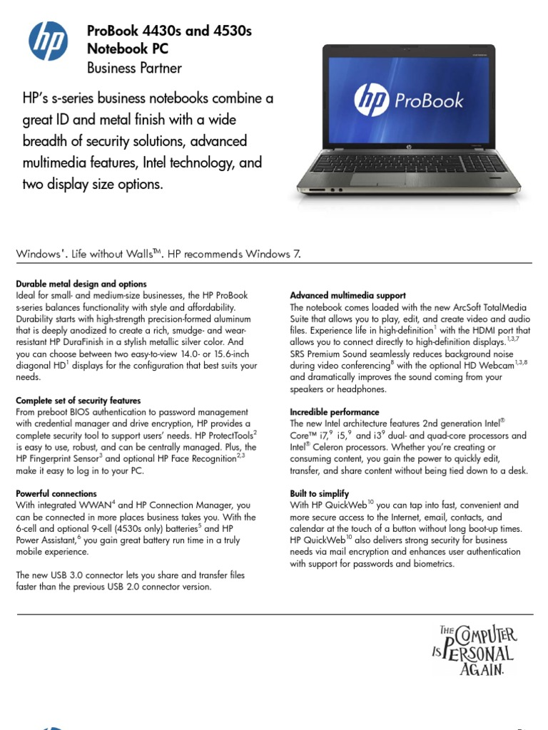 HP ProBook 4430s 4530s Notebook PC Datasheet | Windows 7 (293