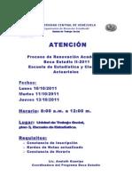 Aviso de Renovaciòn Escuela de Estadistica II-2011