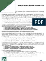 20111003 Nota de Prensa Segunda Jornada de Liga