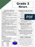 Grade 3 Newsletter 4