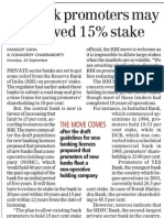 Pvt Bank Promoters May Be Allowed 15% Stake