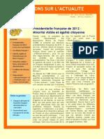 Présidentielle française de 2012 : Minorité visible et égalité citoyenne