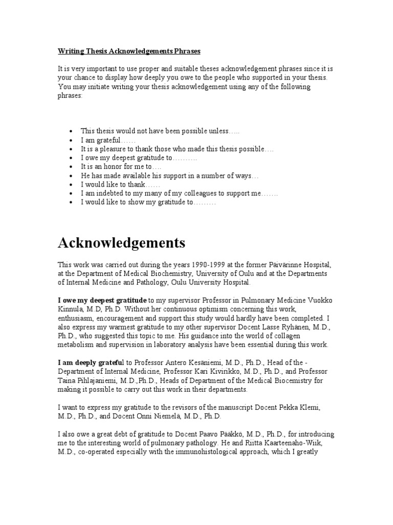 writing acknowledgements thesis Learn here what to include with samples of dissertation / thesis acknowledgement.