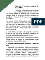 Comunicado Final da IV reunião ordinária da Comissão Politica da UNITA