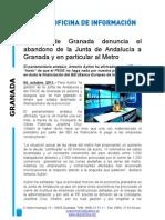 El PP de Granada denuncia el abandono de la Junta de Andalucía a Granada y en particular al Metro