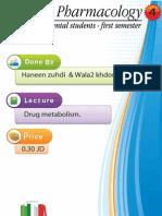 Lecture 4, Drug metabolism (Script)