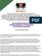 Venezuela Día Latinoamericano por la Despenalización de la Interrupción del Embarazo