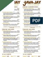 Java Jay Single Sided Menu With Taco Salad 9-29