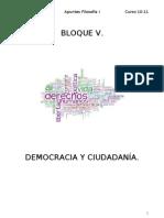 BLOQUE V DEMOCRACIA Y CIUDADANÍA