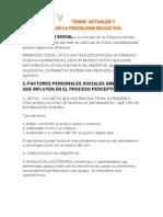 Temas Actuales y Aplicaciones de La Psicologia Educativa