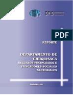 Recursos Financieros Indicadores Sectoriales Sociales Chuquisaca
