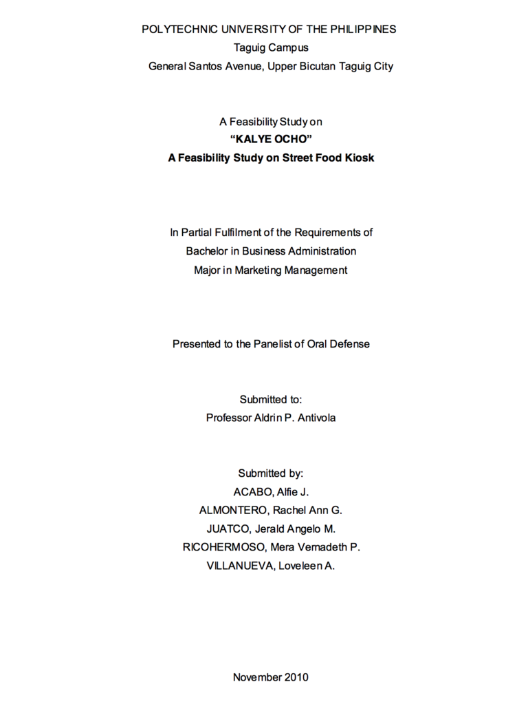 Feasibility study sample for small business pdf philippines.
