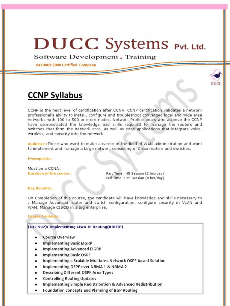 Ccnp Syllabus Cisco Certifications Computer Network