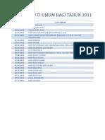 Senarai Cuti Umum Bagi Tahun 2010-2011