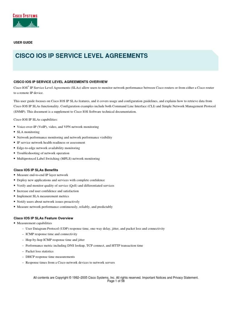 Ip Sla Cisco Guide | Port (Computer Networking) | Transmission