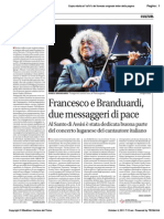 Francesco e Branduardi due messaggeri di pace