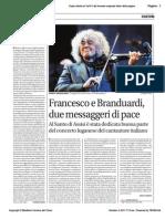 Francesco e Branduardi due messaggeri di pace