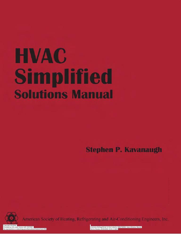principles of hvac solutions manual
