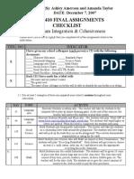 K - Amerson-Taylor - Final Checklist - Curriculum Integration