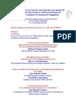 PROGRAMA - TEMARIO - X COLOQUIO DE LEXICOLOGÍA Y LEXICOGRAFÍA «Luis Jaime Cisneros» 2011