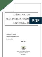 ANÁLISIS FOLIAR Y PLAN DE FERTILIZACIÓN 2011-2012