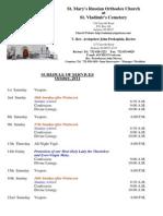 10. Schedule of Divine Services - October, 2011