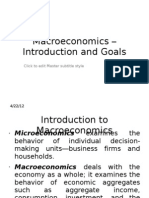 Macroeconomics –Introduction and Goals Lecture 1