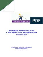 Informe de Avance Ley 20084 Fund Tierra de Esperanza