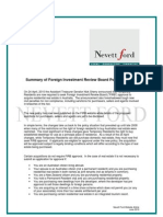 Summary of Foreign Investment Review Board Policy Changes