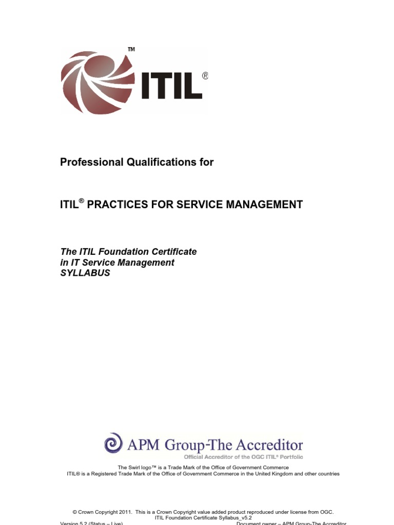 Itil Foundation Certificate Syllabus V52 Itil It Service Management