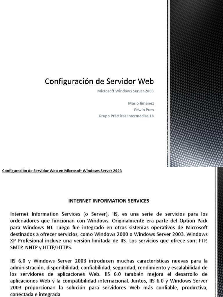 Configuración de Servidor Web en Windows Server 2003