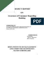 PROJECT Regarding Consumer Awareness