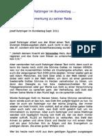 Josef Ratzinger im Bundestag .... Anmerkung zu seiner Rede