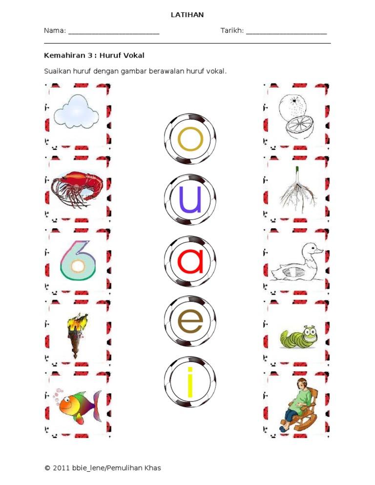 Lembaran Kerja Kemahiran 3 Huruf Vokal A E I O U