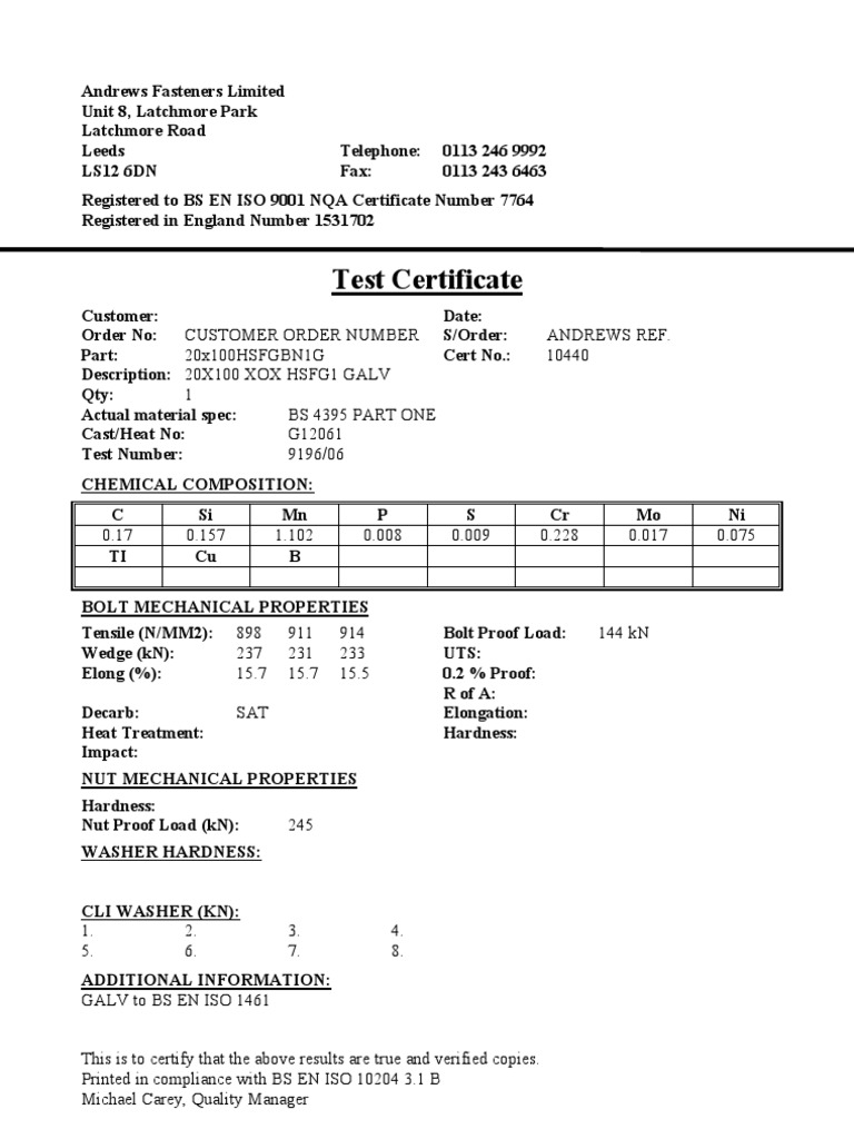 Sample Test Certificate en 10204