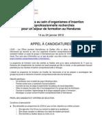 Appel à candidatures immersion des intervenants_LOJIQ_Honduras 2