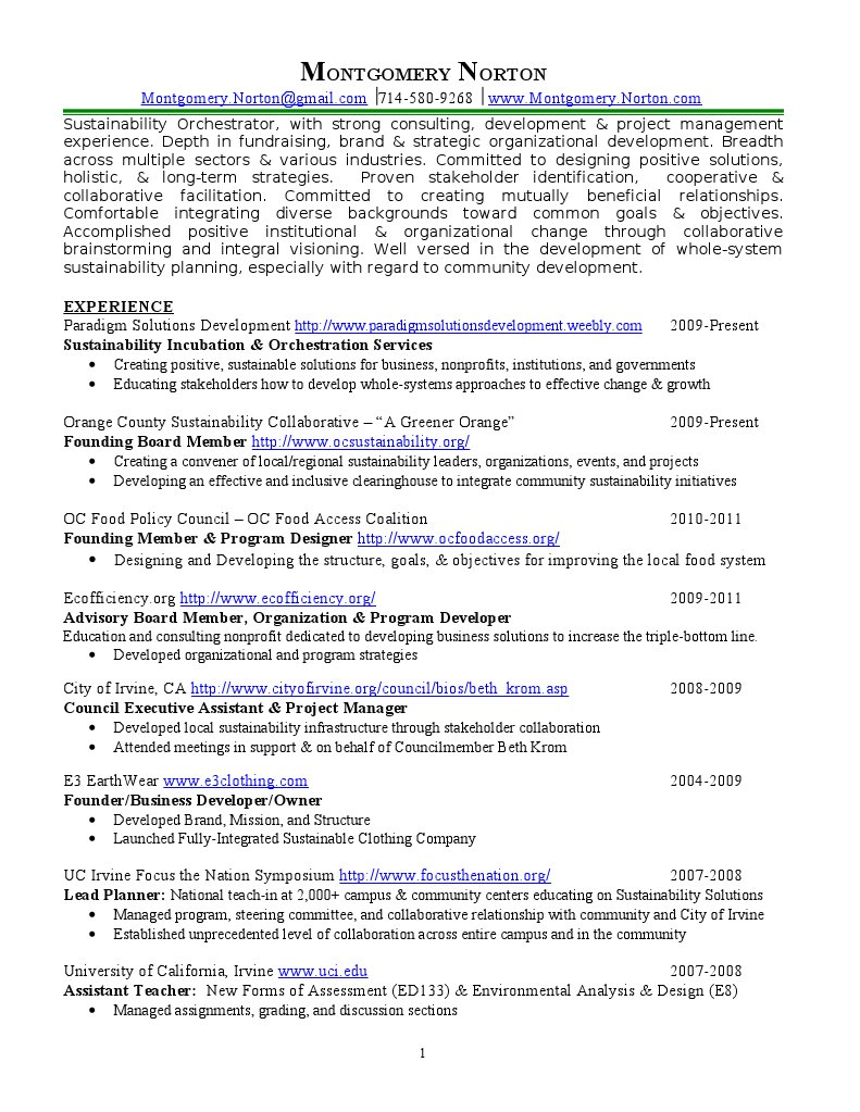 cv sustainability orchestration | University Of California
