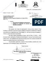 Ofício da prefeitura de Altamira, enviado ao MPF-PA