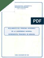 Reglameto Del Personal Academico de La UNEFM