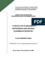A ESCOLA DO PLANEJAMENTO ESTRATÉGICO NOS ARTIGOS ACADÊMICOS RECENTES