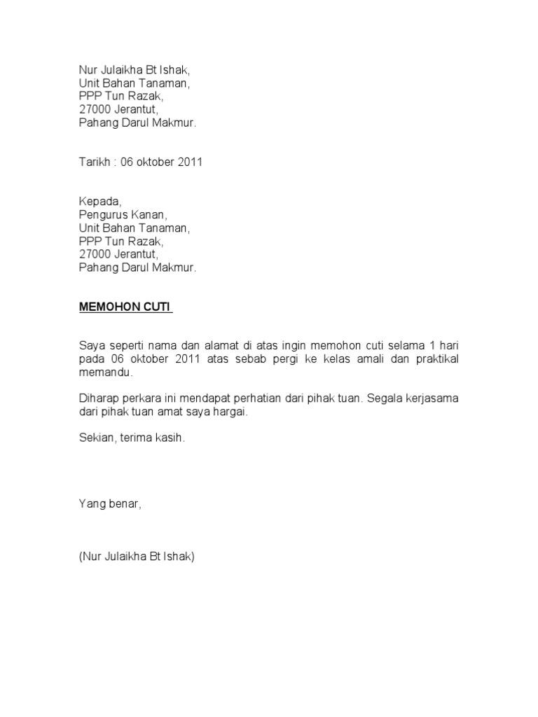 Contoh Surat Cuti Kerja Doc Gudang Surat