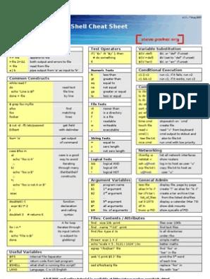 Bash Script Cheat Sheet | Unix Software | Computer Engineering