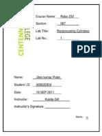 Lab Cover Sheet Robo 231