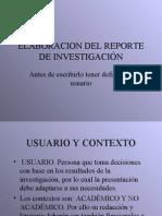Elaboración Del Reporte de Investigación