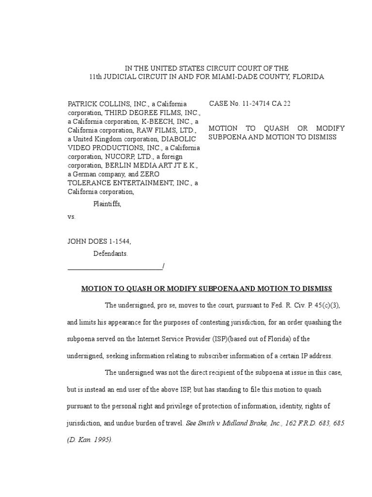 Motion To Quash Or Modify Subpoena And Motion To Dismiss 11 24714